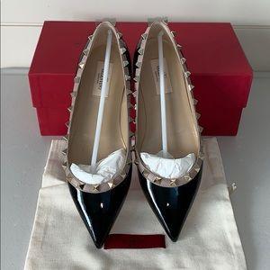 Valentino Black Patent Rockstud Ballet Flat